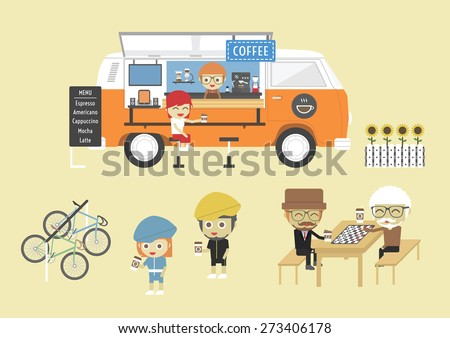 Mobile coffee van, hipster lifestyle on street, paste, flat style