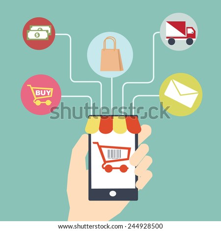 mobile commerce concept  Flat design - stock vector