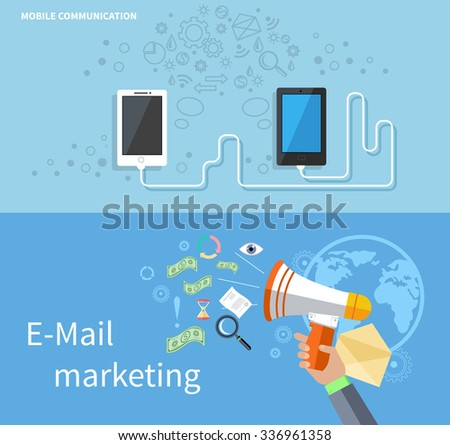 Mobile communication and e-mail marketing. Mobile technology, mobile phone, communication technology, email marketing, e-mail marketing template illustration - stock vector