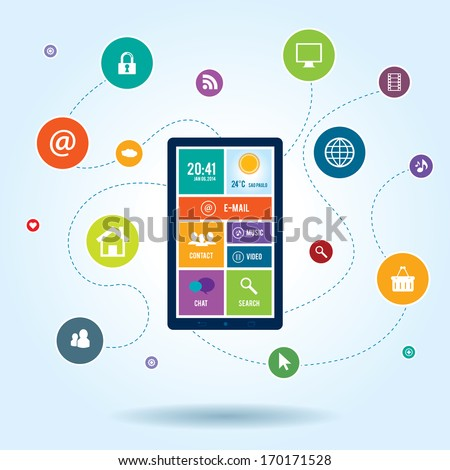 Mobile  communication by smart phone apps to services available on the internet - stock vector