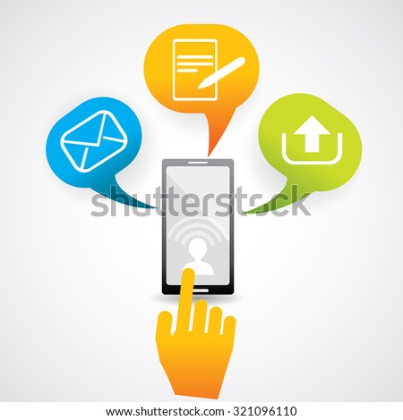 Mobile communication device with colorful speech bubbles and UI icons. - stock vector