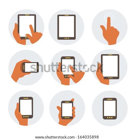 Mobile communication flat icons - stock vector