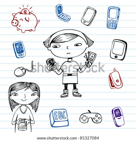 Mobile communication, Hipsters doodle set - stock vector