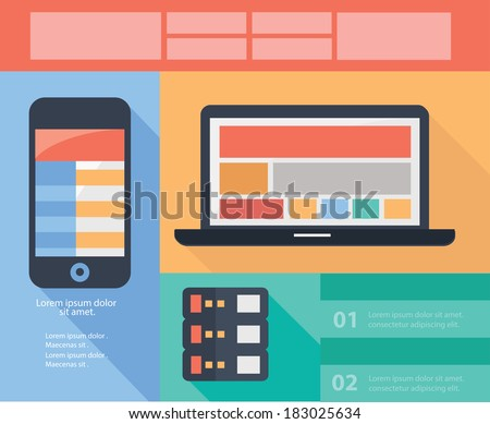 Mobile,Computer & Database concept banners,vector - stock vector