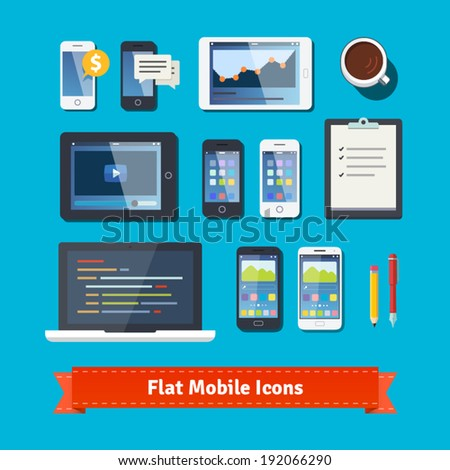 Mobile computing and development flat icons set. Modern laptop, tablets and phones. EPS10 vector. - stock vector