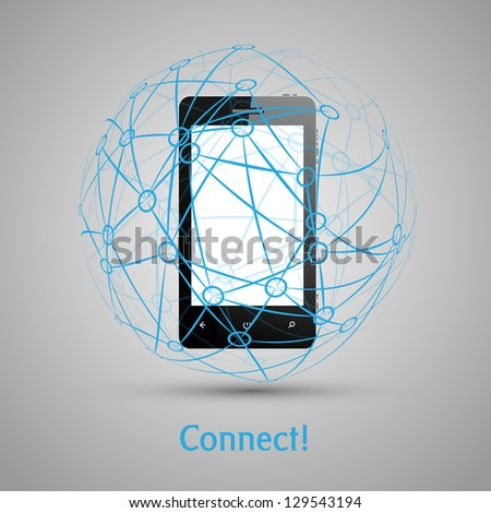 Mobile connect vector concept - stock vector
