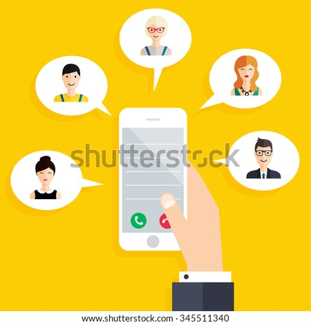 Mobile connection infographics element. Social Network Vector Concept. Hand holding smart phone.  Flat design style modern vector illustration concept. - stock vector