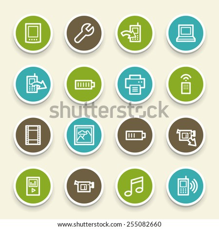 Mobile content web icons set - stock vector