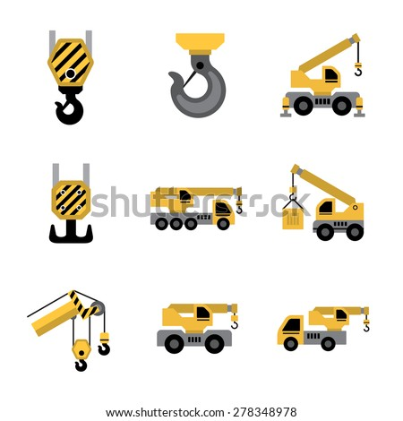 Mobile crane isolated on white background. - stock vector