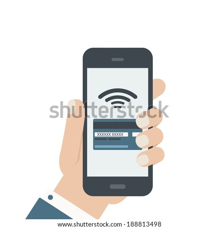 mobile credit card hand holding phone flat - stock vector