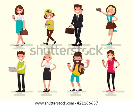 Mobile dependence. People with their gadgets. Vector illustration in a flat style - stock vector