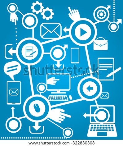 Mobile device graphic composition, vector draw illustration. isolated objects. - stock vector