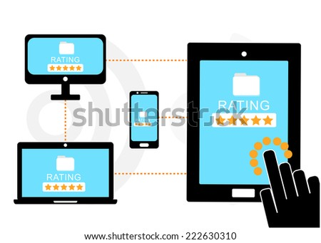 Mobile device set icon, hand rating and review feedback, eCommerce online concept  - stock vector