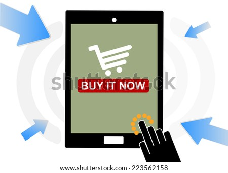 Mobile device set icon, hand shopping and buy, eCommerce online concept - stock vector