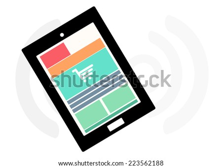 Mobile device set icon, review information shopping feedback, eCommerce online concept - stock vector