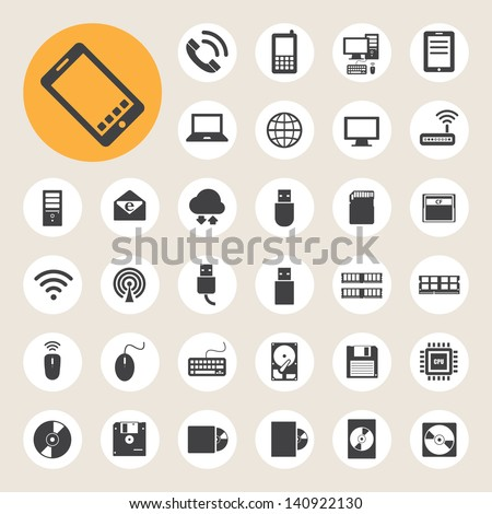 Mobile devices , computer and network connections icons set. Illustration eps 10 - stock vector