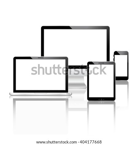 Mobile devices set with laptop computer monitor smartphone tablet vector illustration