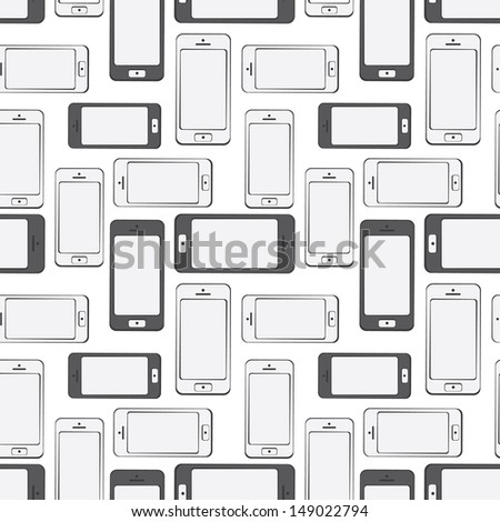 Mobile Devices, Smartphone, Seamless Pattern Background - stock vector