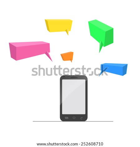 Mobile dialogues with many colors - stock vector