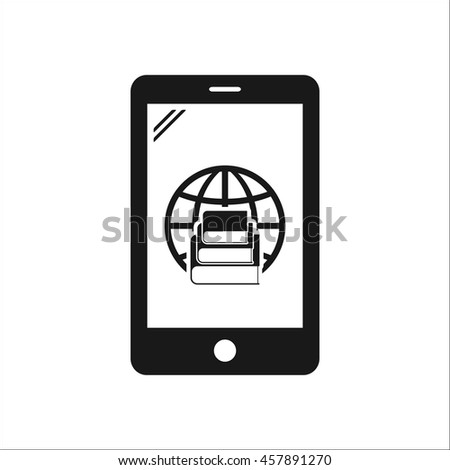 Mobile E-book reader symbol sign simple icon on background - stock vector