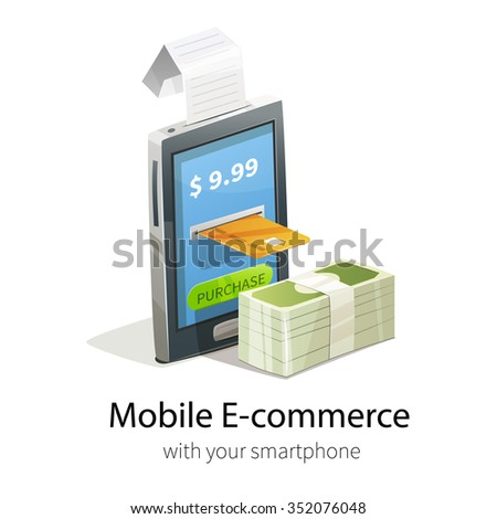 Mobile e-commerce concept. Smartphone, plastic credit card and money. Isolated on white background. Phone gives purchase receipt. - stock vector