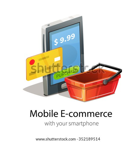 Mobile e-commerce concept. Smartphone, plastic credit card and money. Isolated on white background. Red empty shopping basket. - stock vector