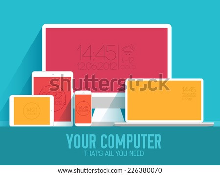 mobile electronic devices on flat style concept background. Vector illustration design - stock vector