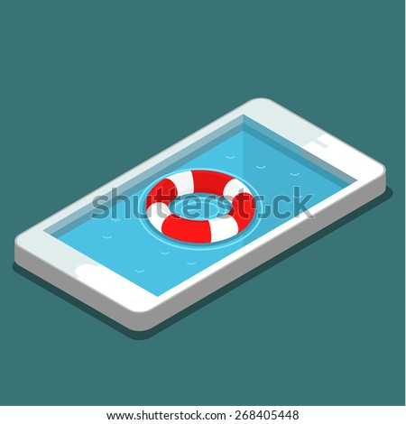 Mobile emergency service concept. Flat style vector illustration - stock vector