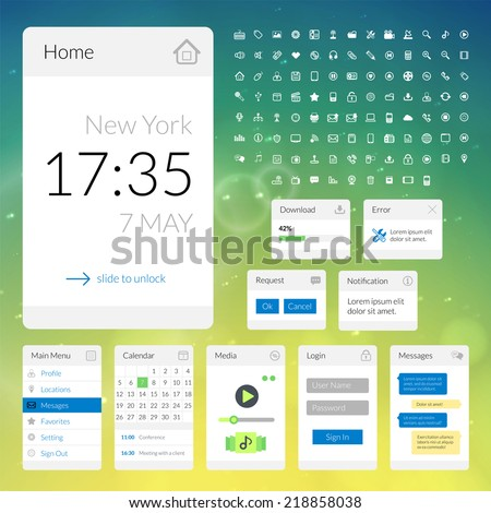 Mobile flat interface elements with colorful wallpaper and icon set, design for applications, panel lists player calendar chat homepage main menu notification error question and download - stock vector