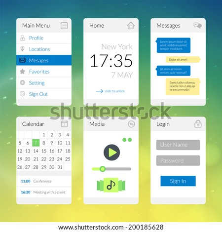 Mobile flat interface elements with colorful wallpaper, design for applications, panel lists player calendar chat homepage and main menu - stock vector