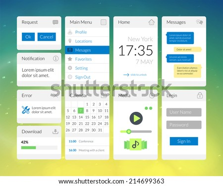 Mobile Flat Interface Elements Colorful Wallpaper Stock Vector ...