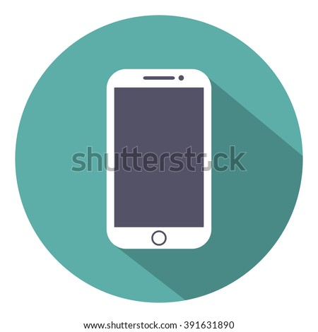 Mobile flat style icon isolated with shadow on a green background, vector illustration of a stylish for web design - stock vector