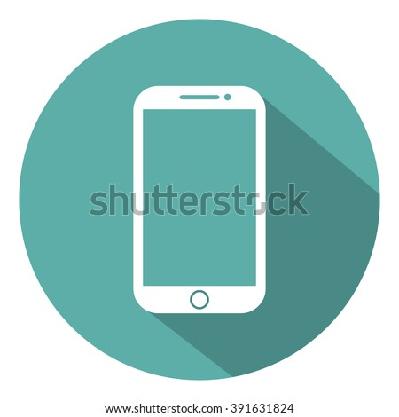 Mobile flat style icon with shadow on a green background, vector illustration - stock vector