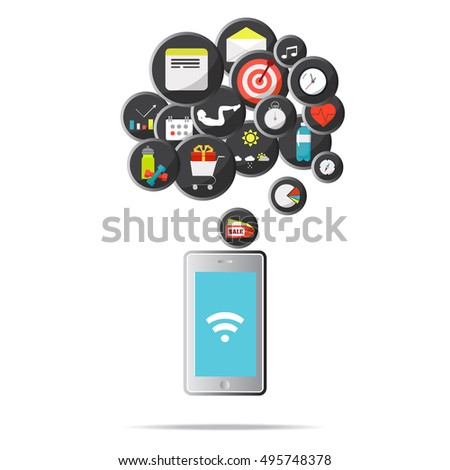 Mobile flat web isometric infographic concept, vector template. Mobile app icons for smartphone.
