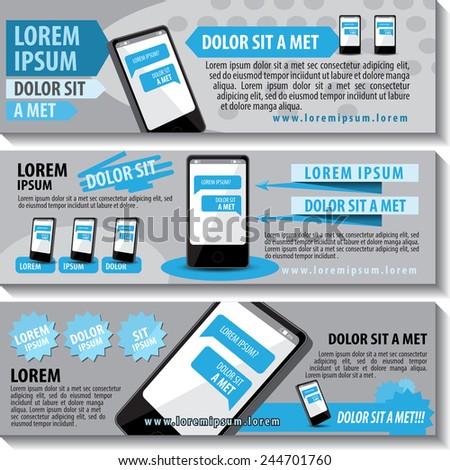 Mobile Flyer Template Set - Vector Illustration, Graphic Design, Editable For Your Design - stock vector