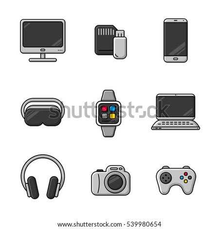 Mobile gadgets and devices. Flat line icons set. In Grey.
