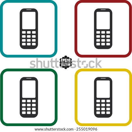 Mobile Gadgets Symbol Icons Set On Stock Vector 255019096 Shutterstock