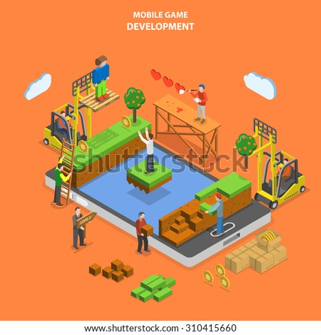 Mobile game development flat isometric vector concept. Developers team build virtual world of mobile game. - stock vector