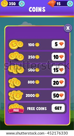 Mobile Game GUI Coins Shop Screen for In App Purchases