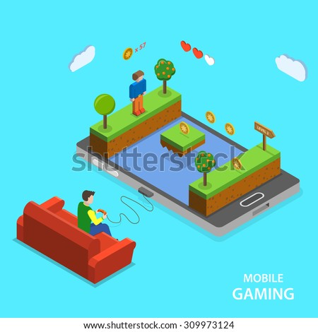 Mobile gaming flat isometric vector concept. A man is playing mobile game  sitting on the sofa. - stock vector