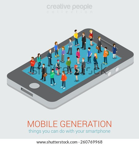 Mobile generation template with crowd of casual micro people on smart phone touch screen flat 3d web isometric infographic concept vector. Communication addiction. Creative people collection. - stock vector