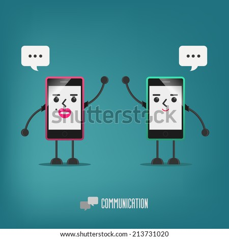 mobile girl and boy talking : communication - stock vector