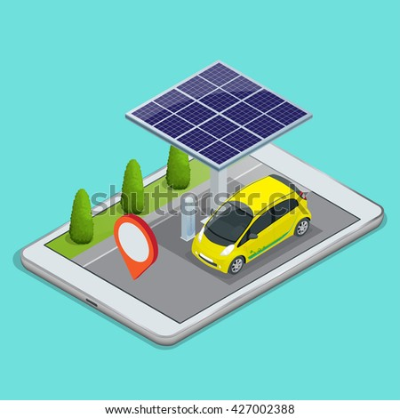 Mobile GPS navigation, electric car charging concept. View a map on the mobile phone on car and search GPS coordinates. Flat 3d vector isometric illustration - stock vector