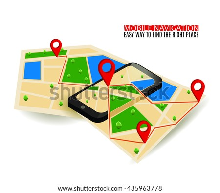 Mobile GPS navigation map and pin marker with modern digital device. Flat Isometric style. Infographic Concept Web Banner. Vector Illustration. - stock vector