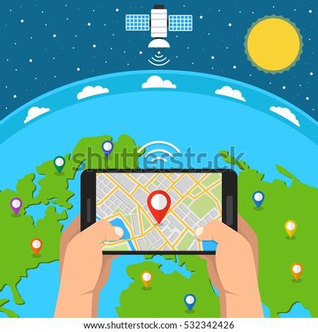 Mobile Gps Navigation Map Pointer On Stock Vector - Navigation map online