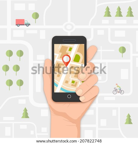 mobile gps navigation on mobile phone with map and pin vector illustration