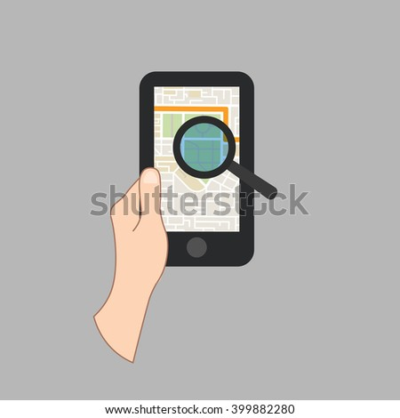 Mobile GPS Navigation On Mobile Phone With Map. Vector Illustration - stock vector