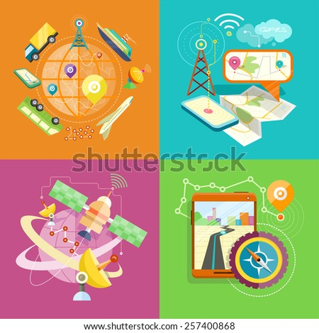 Mobile GPS navigation, travel and tourism concept in flat design. View of modern glossy touchscreen smartphone with GPS navigation application, magnetic compass and group of pushpins on map  - stock vector