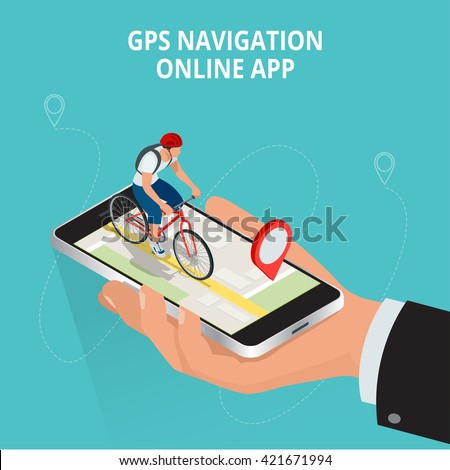 Mobile GPS navigation, travel and tourism concept. View a map on the mobile phone on bike and search GPS coordinates.Flat 3d vector isometric illustration. - stock vector