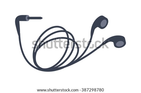 Mobile headphones vector illustration. Mobile headphones isolated on white background. Mobile headphones vector icon illustration.Mobile headphones isolated vector. Mobile headphones silhouette - stock vector